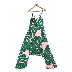 Express pink and green palm leaf maxi dress NWT
